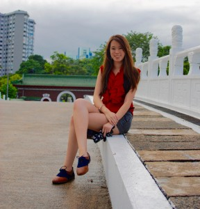 Amanda Etchison on the White Rainbow Bridge in Singapore's Chinese Gardens. (Credit: Pallavi Keole)