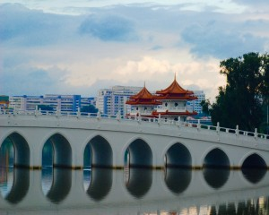 The White Rainbow bridge in Singapore's Chinese Gardens. (Credit: Amanda Etchison)