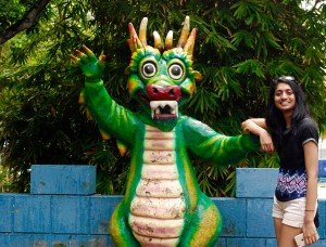 This picture was taken of me by my roommate, Amanda Etchison, on our Study Abroad Experience to Singapore. This dragon statue was one of many that we saw at the Tiger Balm Gardens/Haw Par Villa.