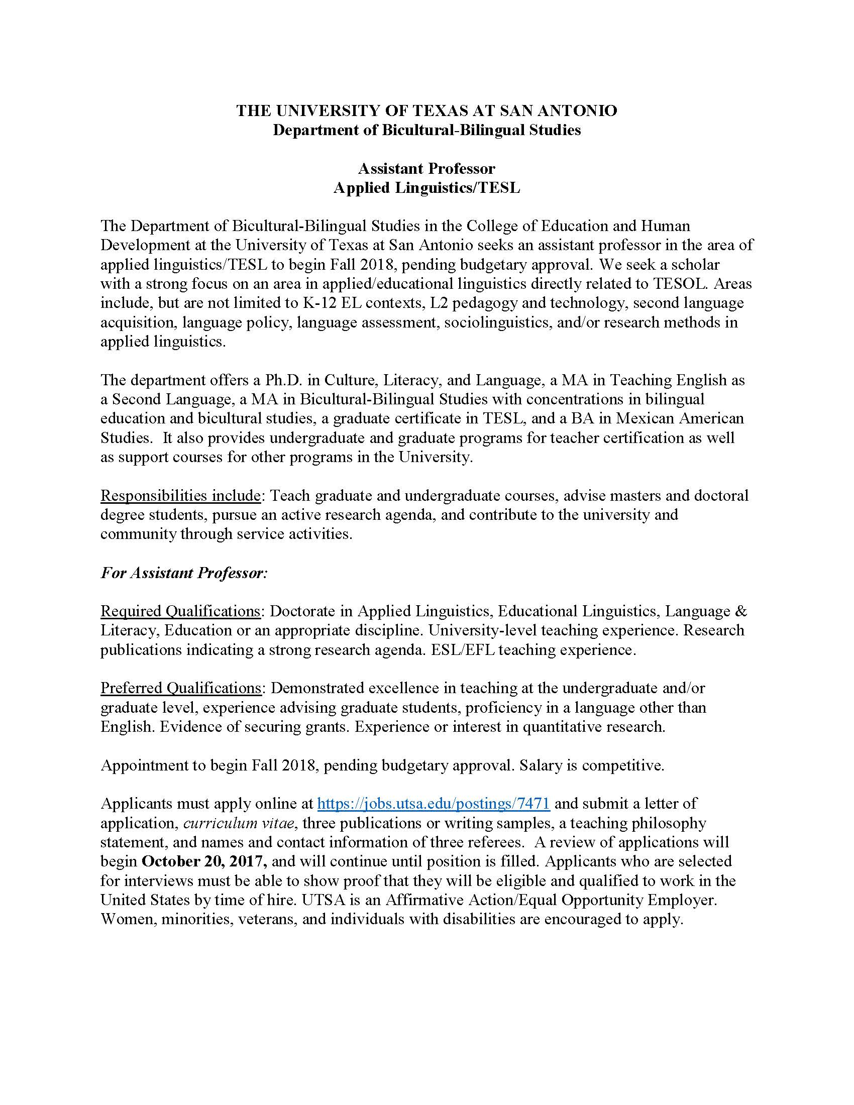 Job Announcement: Assistant Professor Applied Linguistics ...