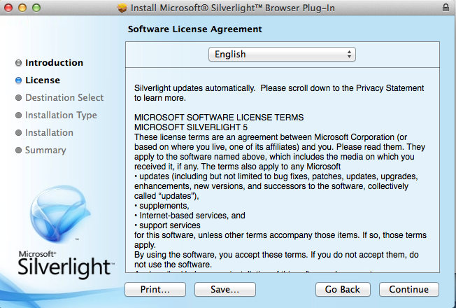 silverlight for mac wont install
