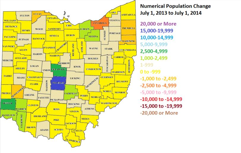 Population Changes In Ohios Cities OSU Extension In The City - Map of ohio cities