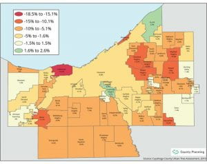 Cuyahoga County tree canopy assessment update details losses
