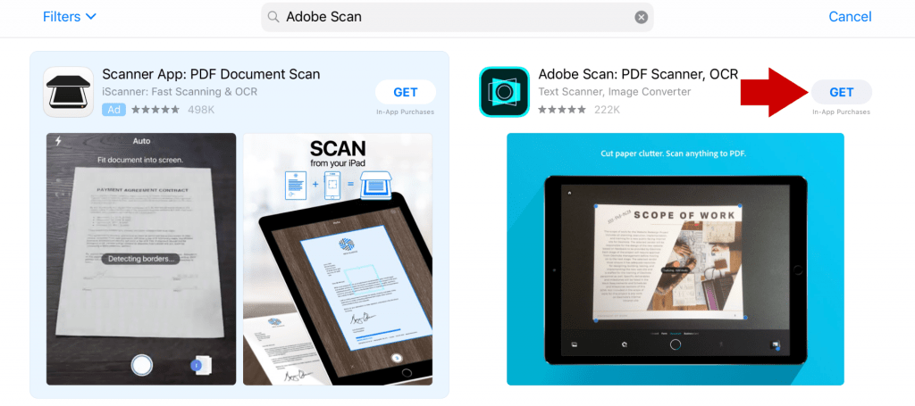 Adobe scan in app store
