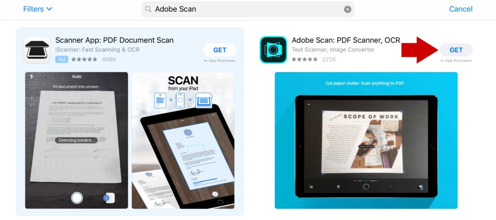 Adobe scan in app store