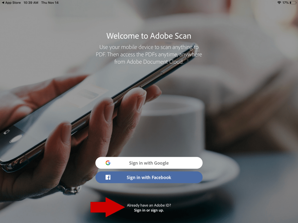 Adobe Scan launch screen