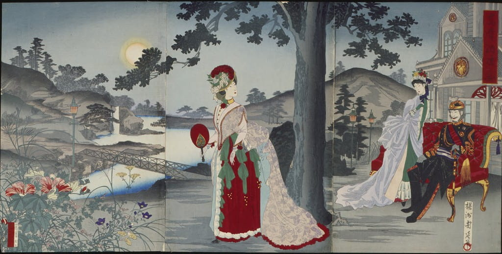 The Japanese imperial family outfitted in European-style finery in a landscape with Western architecture, gaslights, and a truss bridge in a traditional Japanese setting.