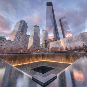 The 9/11 Memorial South Pool in New York City.