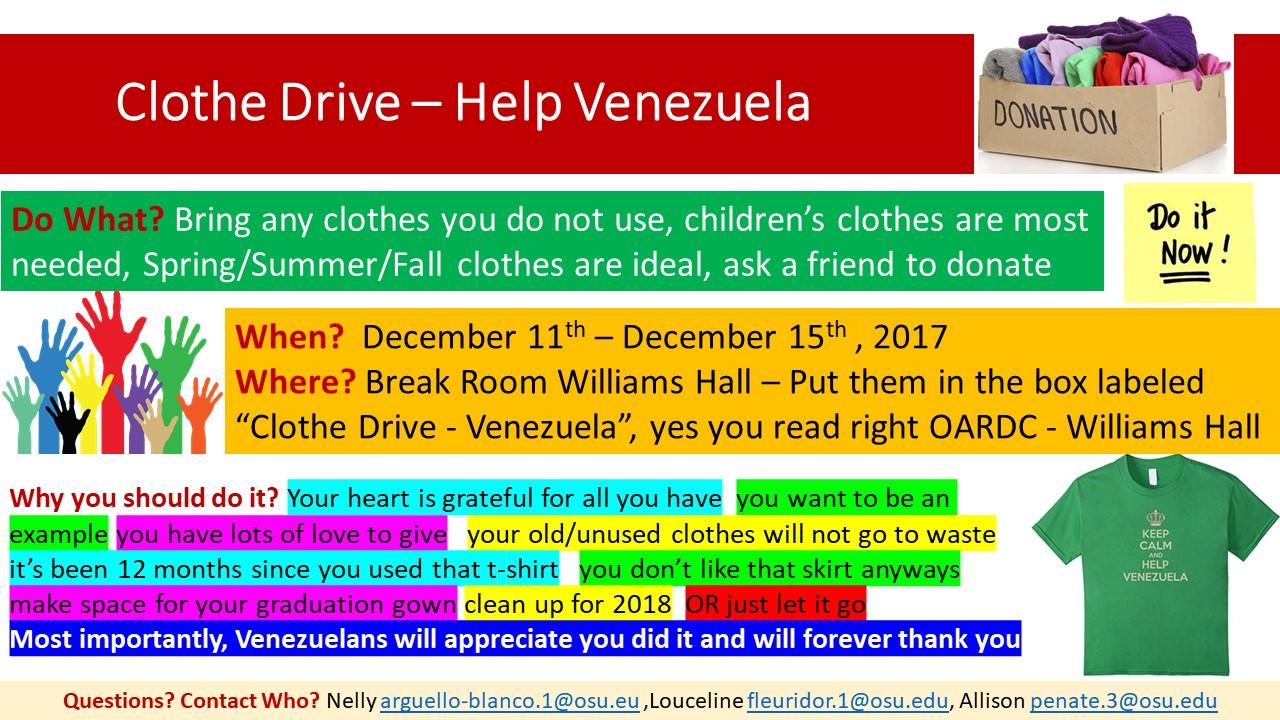 Clothing Drive to Help the People of Venezuela   WoosterInternational