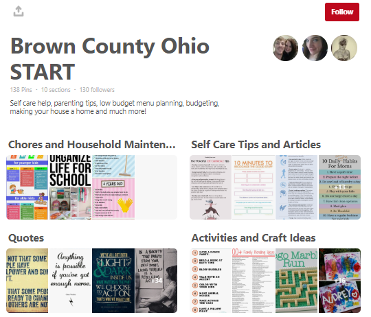 A screenshot of Brown County's OhioSTART Pinterest Board with categories of links for Chores and Household Maintentance; Self Care Tips and Articles; Quote; and Activities and Craft Ideas.