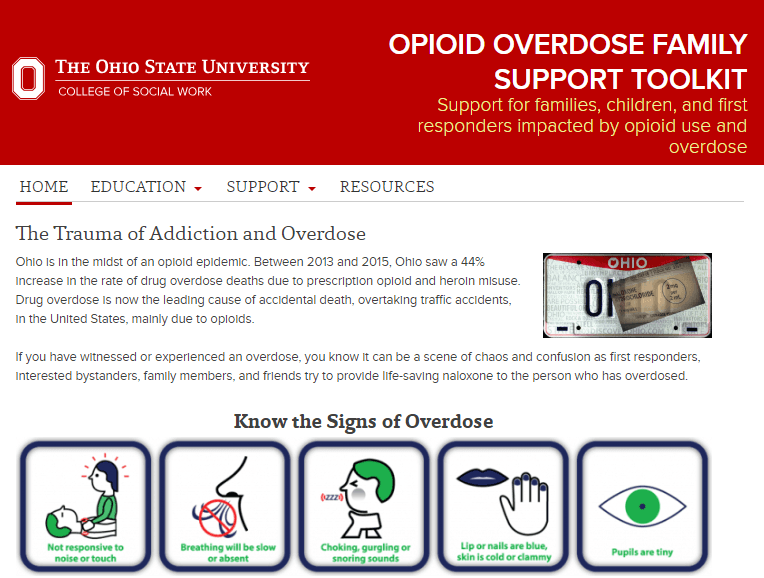 Screen shot of the website for the Opioid Overdose Family Support Toolkit. Talks about the trauma of addiction and overdose and shows a graphic about knowing the sign of overdose.