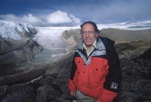 Photo of Lonnie Thompson by glacier