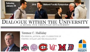 Banner with symposium title and photo of Terence C. Halliday