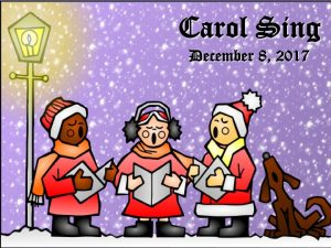 Drawing of carolers singing under a street light with snow falling.