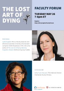 Flyer including photos of the speaker Lydia Dugdale, MD and the interviewer Kathy Tuan-MacLean, PhD