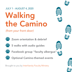 Walking the CaminoJuly 1 - August 4, 2020 Lists 4 elements that are also below in the essentials. Graphic of hiking boot footprints.