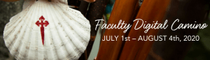 Faculty Digital Camino, July 1st to August 4th, 2020 header photo inches a sea shell with a cross on it