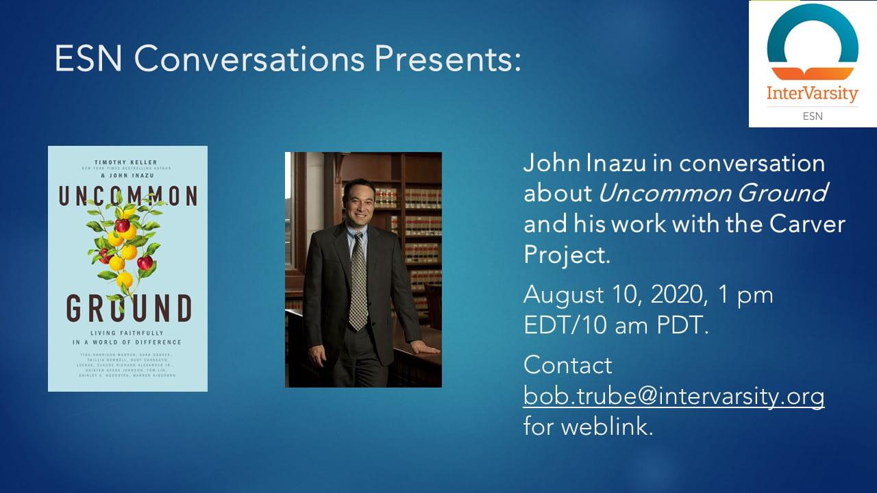 ESN Conversations Uncommon Ground bu John Enazu flyer August  10. 2020 at 1 PMEDT