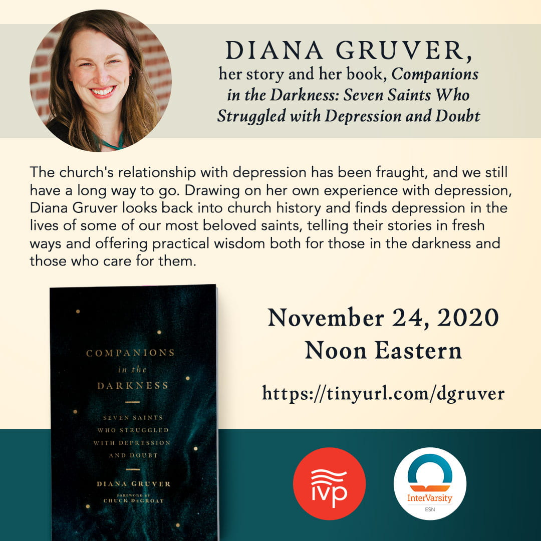 ESN Conversation with Diana Gruver on Companions in the Darkness Flyer including her photo and book cover.