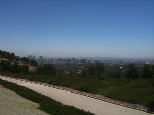 Photochemical smog over Los Angeles as viewed from the Getty Museum, May 29, 2010