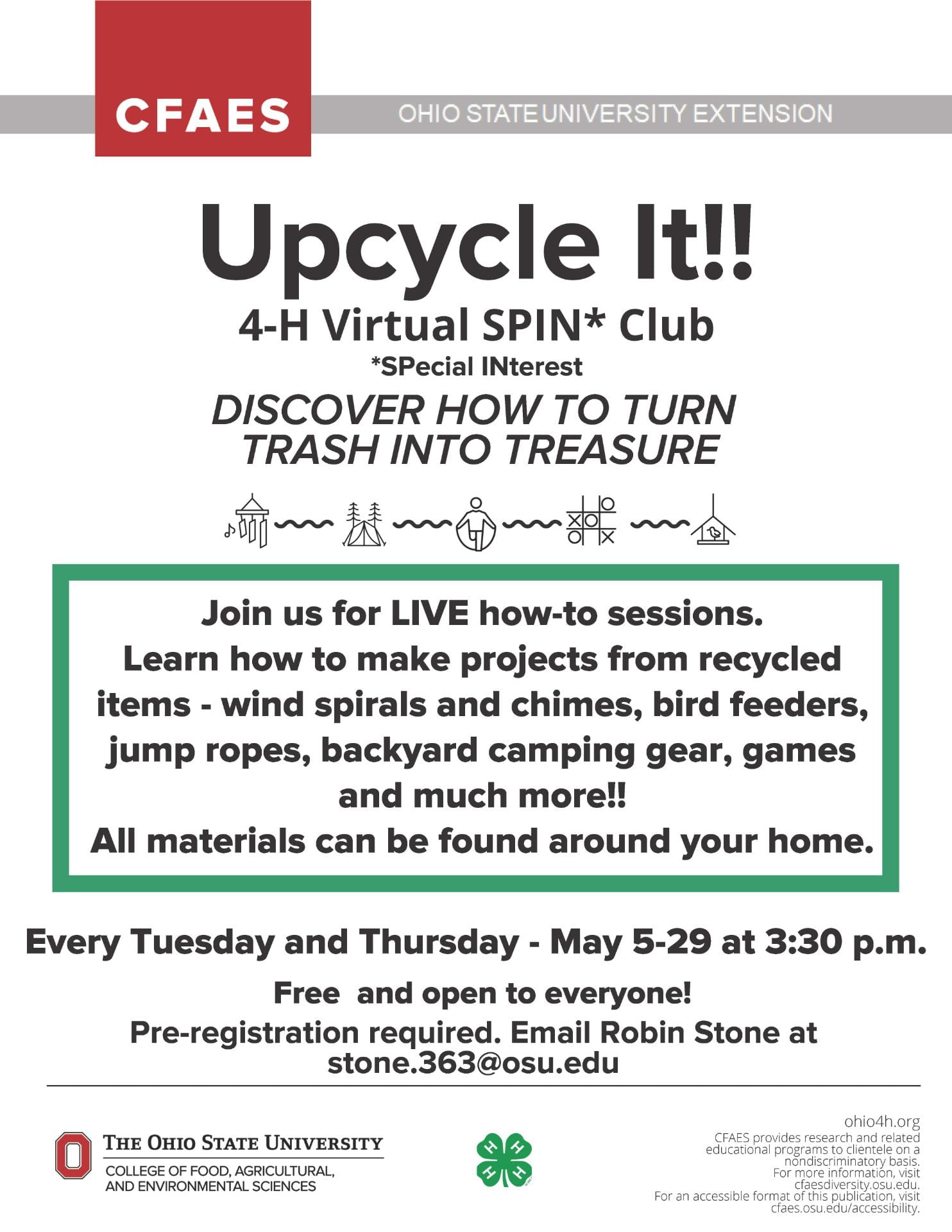 Ohio 4-H Upcycle It!! Special Interest Club Flyer