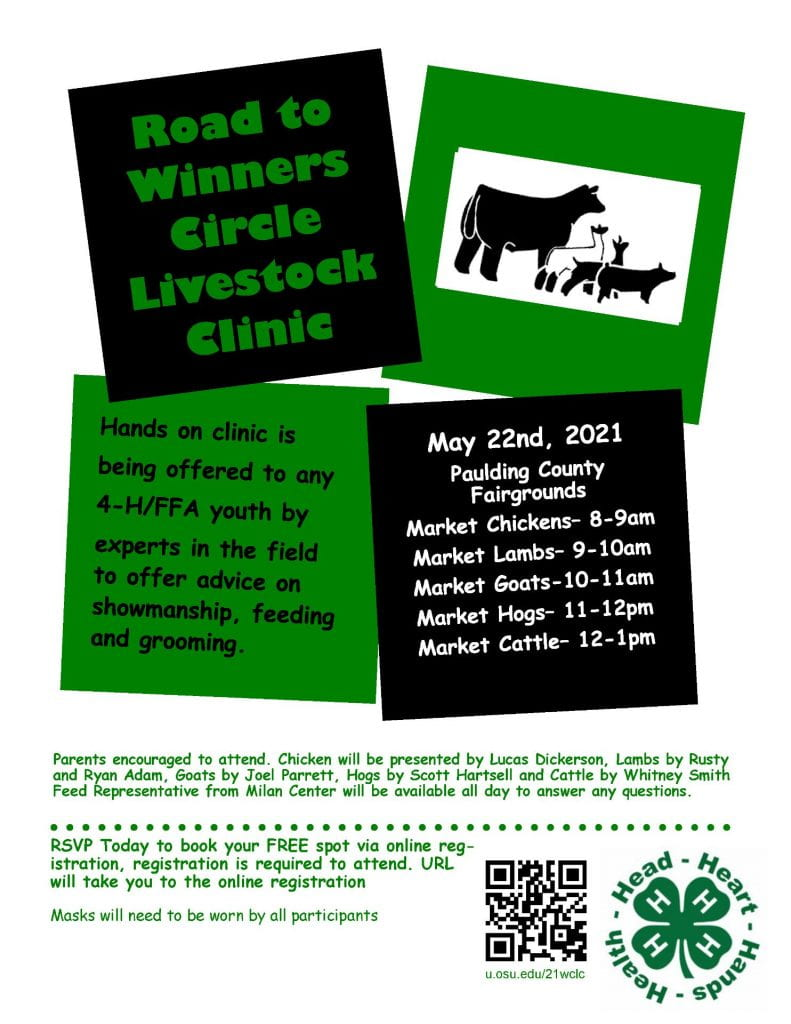 Flyer for a Livestock Clinic being held by the Paulding County Senior Fairboard