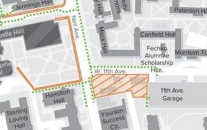 Map illustration showing the 11th avenue sidewalk closure adjacent to the new optometry building construction site.