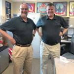 "Drs. Mutti and Walline ""twinning"" in their shared office."
