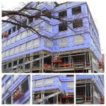 Composite view of multiple photos showing building progress