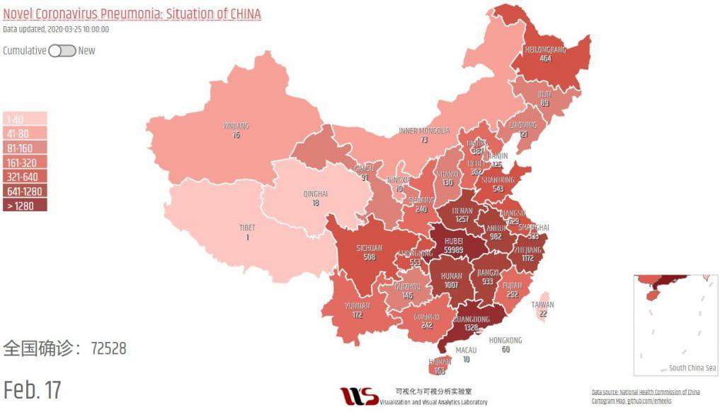 graph displaying Novel Coronavirus Pneumonia in China