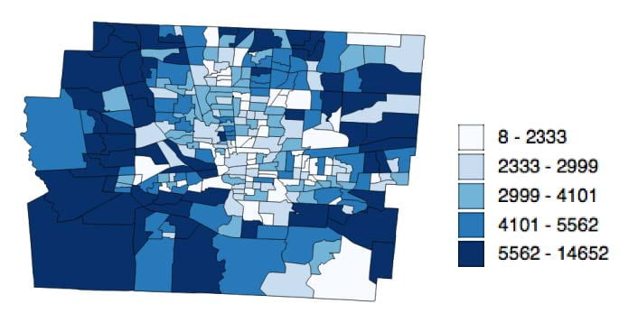 Visual representation of Population of the 284 census tracts in Franklin County, Ohio.
