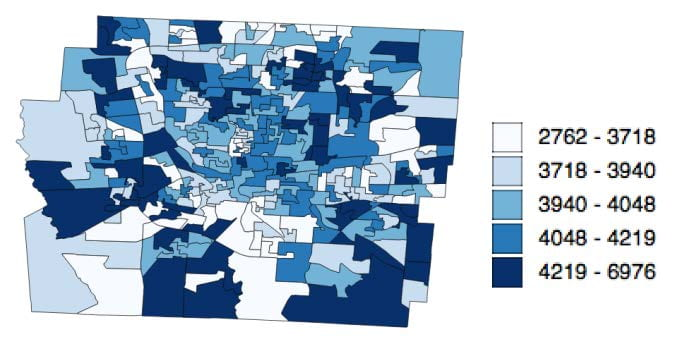 Visual representation of Population of the 284 new units that are aggregated using the 887 census block groups in Franklin County, Ohio.