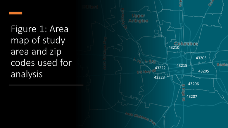 Area map of study area and zip codes used for analysis