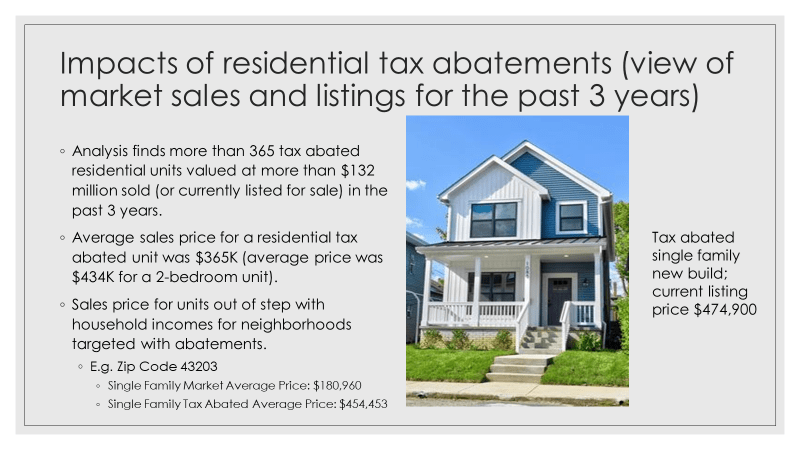 description of impacts of residential tax abatements