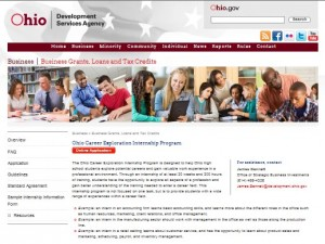2015 4-16 Career Exploration Internship Program Web Screenshot