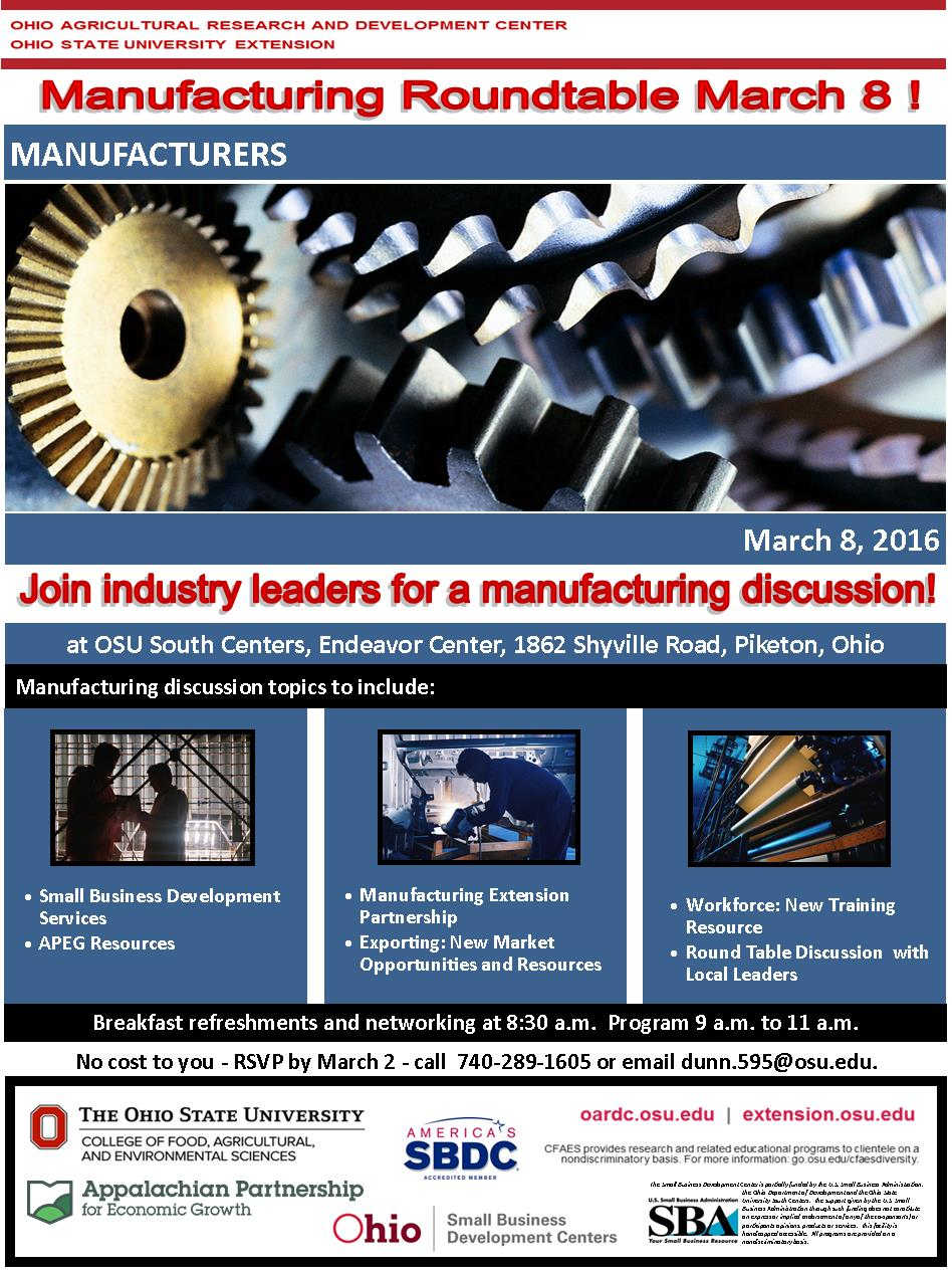 2016 3-8 Manufacturing Roundtable Flyer Pic