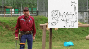 This image shows a crudely photoshopped liger from 'Napoleon Dynamite' in frame with a still of Joe Exotic from the Netflix series 'Tiger King'