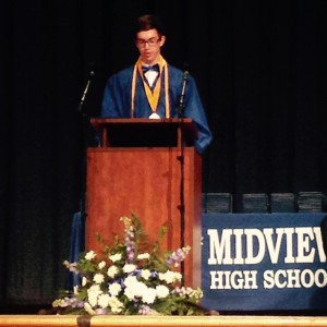 Giving my speech at commencement.