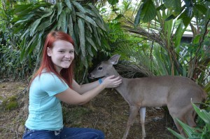 Becca made friends with a rescued deer fawn.