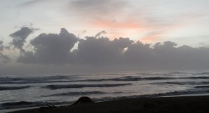 Sunrise over the Caribbean coast of Costa Rica