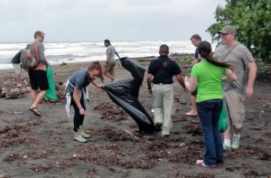Beach cleanup at Tortuguero National Park.