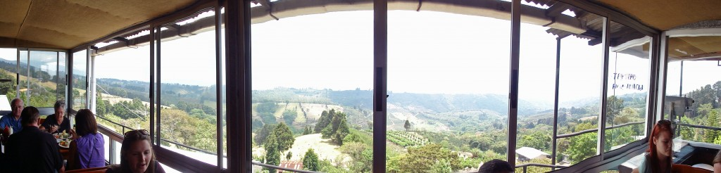 Panorama view from the mountaintop restaurant where we ate lunch overlooking the Central Valley