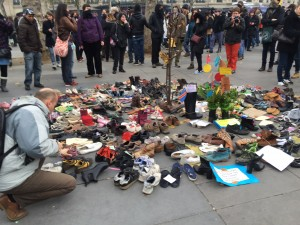 A second shoe exhibit, smaller than the morning exhibit, appeared at the plaza.