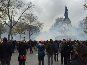 Tear gas at the edge of the plaza