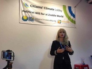 Sarabeth Brockley, global strategy advisor for Citizens Climate Engagement Network, speaks at its launch.