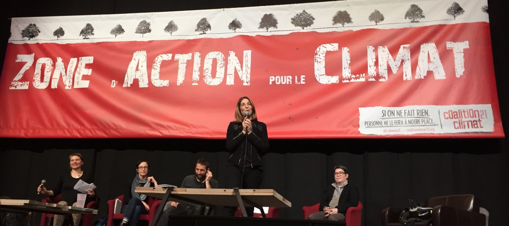 Naomi Klein speaks at the Climate Action Zone.