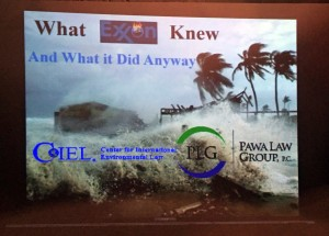"""Title slide for """"What Exxon Knew and What It Did Anyway"""""""