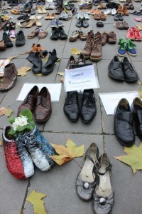 Shoes of Pope Francis at Place de Republique
