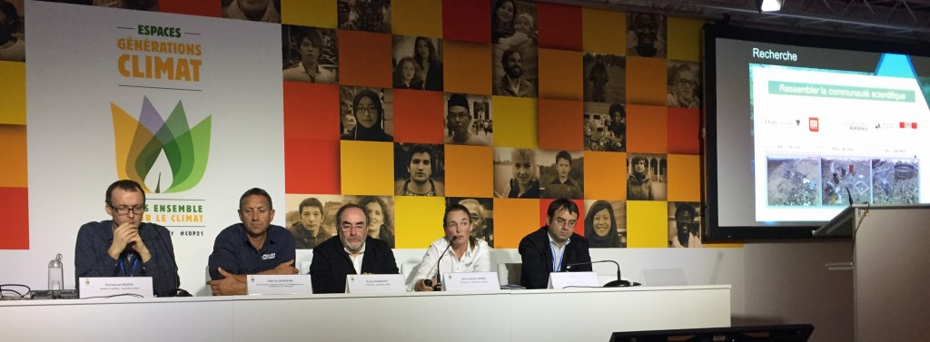 Anne-Cécile Turner (second from right), director of Race for Water Foundation, speaks on a panel about plastics in the ocean at COP 21.