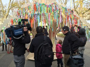 This tree was held hundreds of ribbons expressing what people did not want to lose to climate disruption.